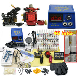 Wholesale 2 top Machines Gun color Inks Power supply needles rotary tattoo Equipment Set kit