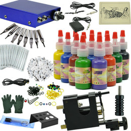 Wholesale High quality tattoo motor Gun kit set with Color Inks pigment Power grip Supply