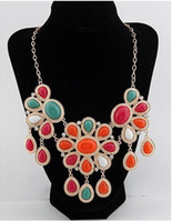 Women's Party Flower Trial Order Womens Statement Necklaces Alloy Flowers With Diamond Pendant Choker Necklace Colors Mix