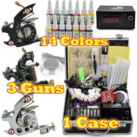 3 Guns Professional Kit A3001 3 Guns Professional Tattoo Machine Kit 14 Colors 5ml Inks pigment Power 20pcs needles Equipment set