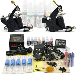 Wholesale 2pcs Top tattoo gun and tattoo inks Blue disposable with needle handle complete tattoo kit high