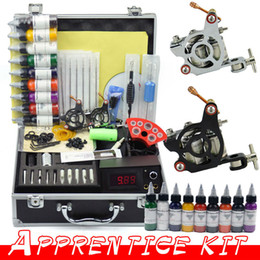 Wholesale Beginner tattoo kit with gun machine Colors ml Inks Power Tips needles Supply Tattoos set supplies by DHL