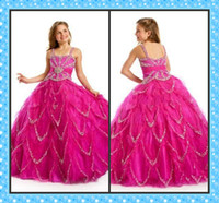 Wholesale Beautiful Pink Violet Beaded Flower Girl Dresses Spaghetti Straps Pageant Dress Party Ball Gown