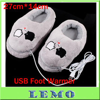 Wholesale USB Warm Shoes with Electric Heat Slipper Cute Piggy Plush USB Foot Warmer Shoes Gray Color