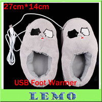 Wholesale USB Warm Shoes Cute Grey Piggy Plush USB Foot Warmer Shoes Electric Heat Slipper