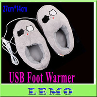 Wholesale Cute Grey Piggy Plush USB Foot Warmer Shoes Electric Heat Slipper Drop Shipping