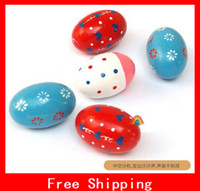 Wholesale Xmas Gifts Pattern Wooden Maracas Eggs Wood Instrument Baby Music Educational Toys