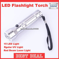other 160lm LED Flashlight MHJA108 15 LED+UV+Laser Emergency Light Outdoor Camping Instruments Laser Torch Flashlight