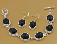 Wholesale Factory price silver black pine stone gemstone bracelet earrings fashion jewelry set set