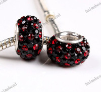 Oval Circle Red 925 Silver Black Crystal Mix Color 12mm Bead Fit Charm European For Pandora 300pcs lot AX102
