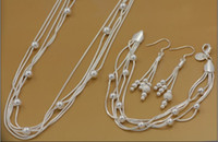 Wholesale Fashion silver jewelry set five wire beads necklace amp bracelet amp drop earrings