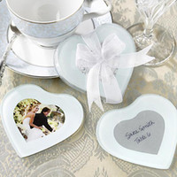 photo frame gifts - Creative Wedding Favors Wedding Gifts Heart Shaped Photo Frame Glass Coasters SET