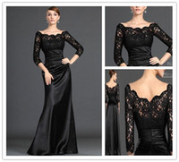 Wholesale 2012 Best Selling Sheath Off The Shoulder Long Sleeves Lace Satin Black Evening Dress Evening Gowns
