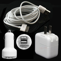 Wholesale 10W USB Wall Adapter M FT Sync Data Power Cable Cord Dual USB Port Car charger For iPad