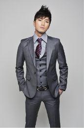 New Custom-tailor Notch Lapel Groom Tuxedos Bridegroom Best Man Suits (Jacket+Pants+Tie+Vest)G528