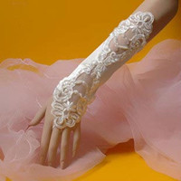 100% Polyester Fingerless Embroidery wedding dress Accessory No stretch Lace black and white fingerless gloves bridal satin formal gloves