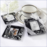 Wholesale Wedding Gifts Classic Black And White Pattern Photo Frame Design Glass Coasters Wedding Favors