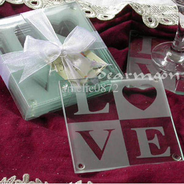 2017 Wholesale Letters Glass Coasters Wedding Gifts Love Glass Coaster Wedding Favors Dhl Free S