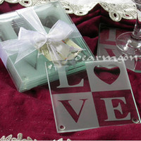 Wholesale Letters Glass Coasters Wedding Gifts Love Glass Coaster Wedding Favors Set DHL Free S