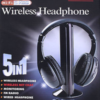 Wholesale 5 in HIFI Wireless headphone Earphone Headset wireless Monitor FM radio for MP4 PC TV audio V290