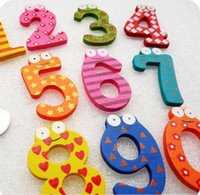 Wholesale EMS Fridge Magnet Colorful Digital Shape Kid baby Learning Wooden Magnetic Toddler Children s Toys