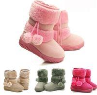 Wholesale Toddler Infant Flat PomPoms Kids children Girls Shoes Winter Fur Snow Boots