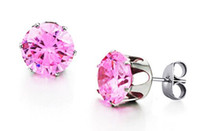 Wholesale Women s Favorite L Stainless Steel Earring Studs with Large CZ Stones Seven Colors Available