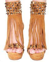 Wholesale 2016 new arrive fashion sheep camel s hair Jing open bind tassel rivet spike waterproof high heeled women sandals shoes