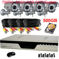 Wholesale 4CH H DVR Security CCTV System TVL Sony Effio CCD Camera With GB HDD