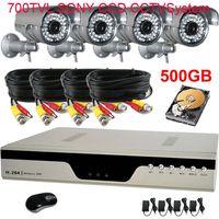 Wholesale 4CH H DVR Security CCTV System TVL Sony Effio CCD Camera With GB HDD