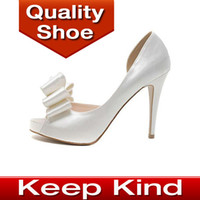 Wholesale Large size sexy fish mouth red sole high heel shoes bowtie open toe high heel wedding shoes white