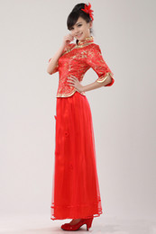 Wholesale Chinese traditional long slap up cheongsam bridal wear Red wedding dress reformed cheongsam