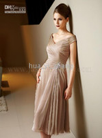 Wholesale Modest Mother of the Bride Dress A line Off the Shoulder J3316 Tea Length Chiffon Real Actual Images
