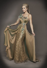 Wholesale 2013 Sexy One Shoulder Evening Dresses Long Sleeve Lace Applique Beaded Crystals Prom Dresses D