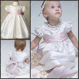 Wholesale Lovely Baby Girls Christening Gown Jewel Neckline Short Puffy Sleeve Tea Length Kids Skirt with Sash