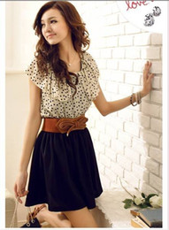 Wholesale 2013 Hotsell Summer Women Polka dot Mini dress Flouncing Collar Bowknot Belted Chiffon Dress S L