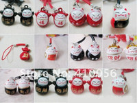 Wholesale Mini Lucky Cat Mix Design Shape Chain Cute Mobile Phone Charm Strap bell Cell Phone Pendant Fashion