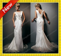 Chapel Autumn/Spring Sexy 2013 Custom Elegant Backless Lace Pleated Stretch Satin Trumpet Scoop Chapel Evening Wedding Dresses