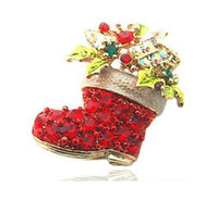 Wholesale Charming Lovely Colorful Red Rhinestone Christmas Stocking Gift Pin Brooch Pieces Set