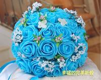 Wholesale Beautiful Wedding Bouquet Artificial Rose Flowers Blue Bridal Bouquets Colors gt gt t436gfs