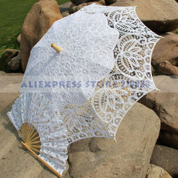 Wholesale Royal Vintage Battenberg Lace Parasol Sun Umbrella amp Fan in White And Ivory Handmade for Wedding