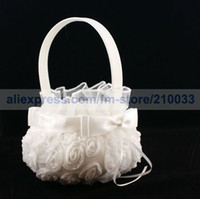 Wholesale Retail Wedding Ceremony Accessories Party Stuff Supplies Pure White Rose Girl Boy Flower Basket