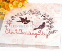 Wholesale Love Birds quot Our Wedding Day quot Pink Napkins Tissue Sheets For Wedding Decoration Pary Gifts Favor