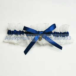 Wholesale Organza Wedding Garters With Royal Blue Bowknot amp Pendant Personalized Bridal Garters for Wedding Retails