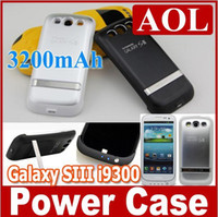 Cheap High Quality External Battery Charger 3200mAh Case Back Up for Galaxy S3 i9300 free shipping 50pcs
