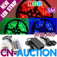 Wholesale 5M Non Waterproof RGB SMD LED Strip Light key IR Remote V A Power sets CN LS48