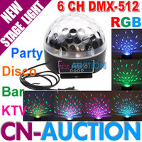 Wholesale 2014 New LED RGB Crystal Magic Ball Stage Effect Light CH DMX Control Pannel Disco DJ Party CN CMBL01