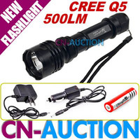 Wholesale 500 Lumen Mode CREE Q5 LED Flashlight C6 Car Charger Portable Charger Battery CN CLF05