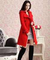 Cheap Autumn Winter Style Women's Red Double-Breasted Wool Woollen Coats Ladies Long Sleeve Trench Coats Girls Casual Lapel Long Overcoats Blends