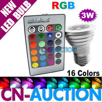 Wholesale 3W E27 Remote Control LED Light Bulb Color Changing RGB LED Spotlight V V CN LLB08